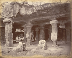 Caves at Elephanta from entrance